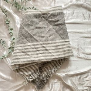 Grey and White Stripes Square Scarf